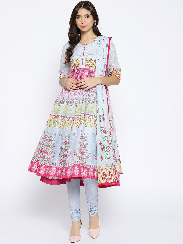 e501755ed8abe Biba Women Blue & Pink Printed Kurta With Churidar & Dupatta -  Kurta Sets