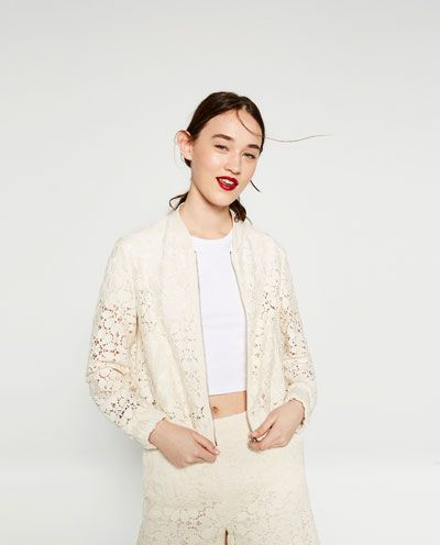 66ed5f69 Image 2 of GUIPURE LACE BOMBER JACKET from Zara |