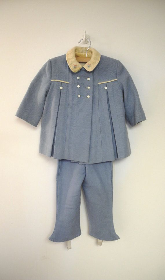 Vintage Baby Clothes, 1950's Light Blue and Ivory Wool Baby Girl ...