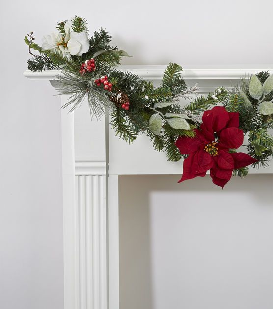 Christmas garland. Would look so pretty above the kitchen ...