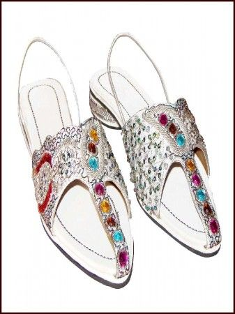 This ethnic bridal slipper is leather sole with multicolor beads work work.