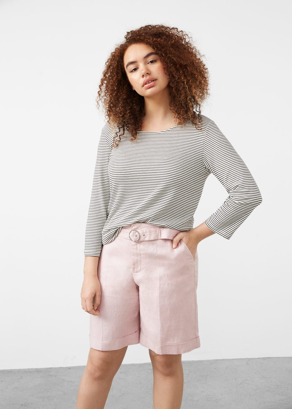 Belt linen-blend bermuda shorts - Shorts  Plus sizes | Violeta by MANGO The Philippines