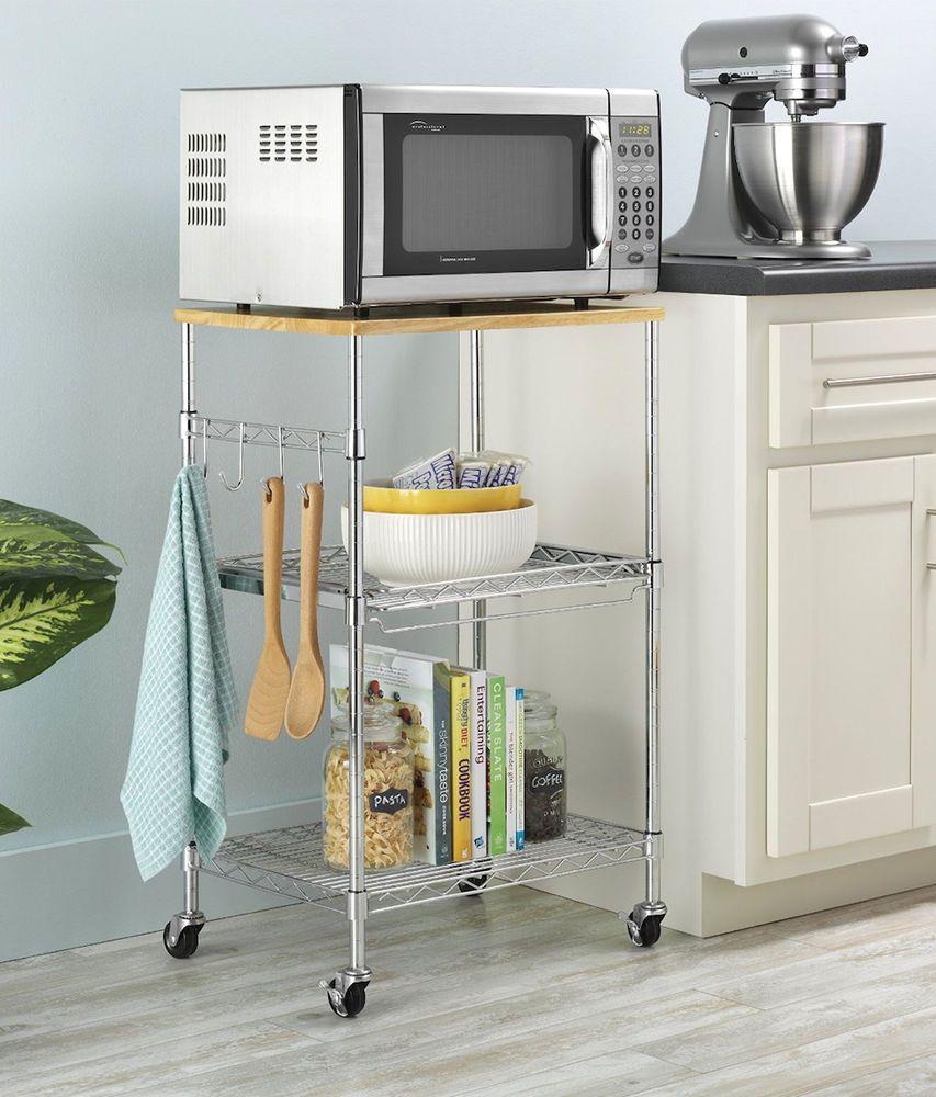 Microwave Cart 3 Shelf Rolling Kitchen Utility Storage Rack Island Stand