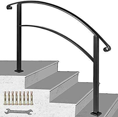 Best Happybuy 4 Step Handrail Fits 1 Or 4 Steps Matte Black 400 x 300
