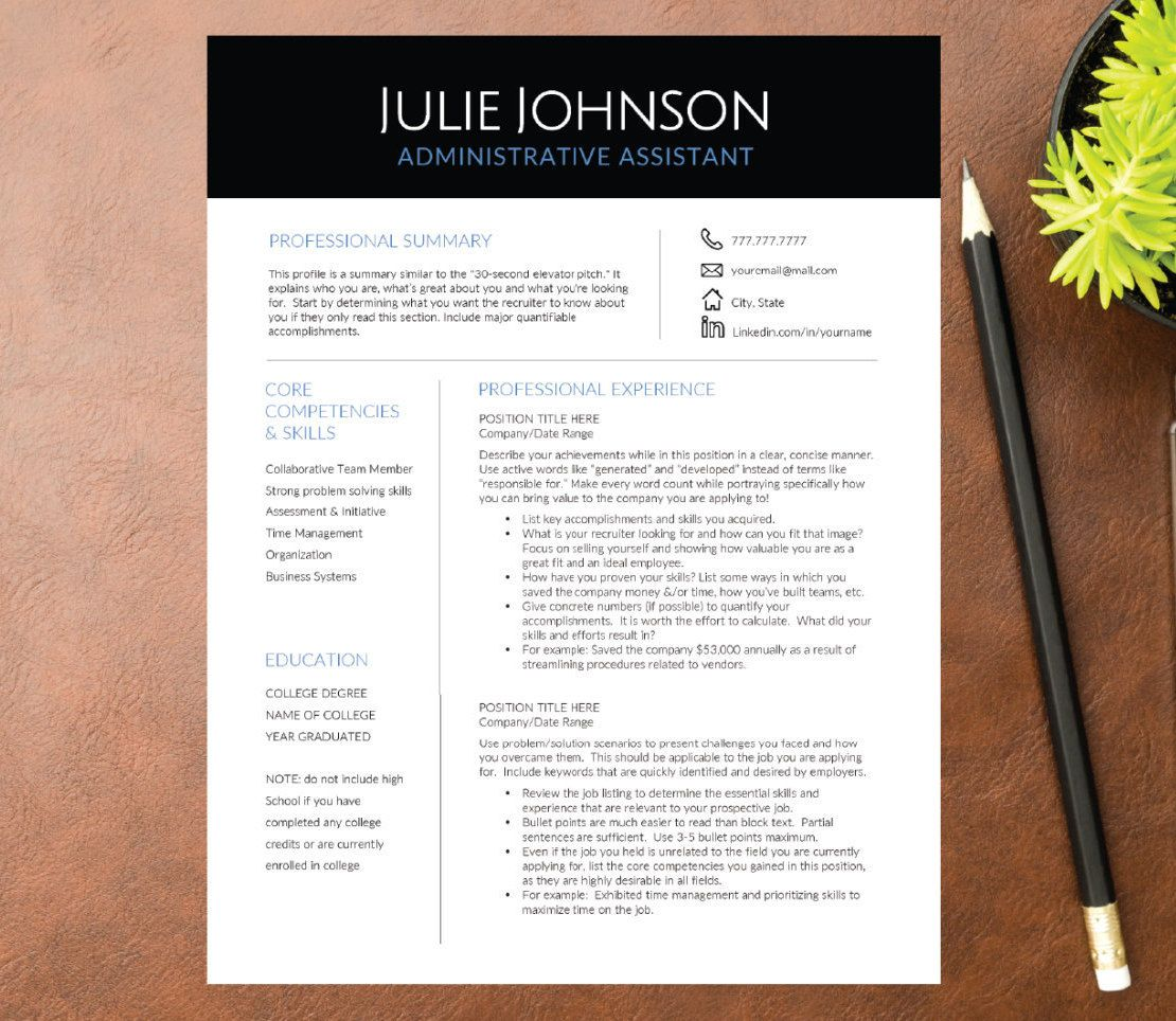 Professional Resume Template For Word A4 Letter 1 2 3 Page