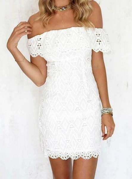 Women Soild Off The Shoulder Wedding Party Dress is part of Party Clothes Casual - NecklineSlash neckSilhouetteALineSleeve StyleOff the ShoulderSeasonSpringMaterialPolyester,LacePattern TypeSolidDresses LengthAbove Knee, MiniSleeve Length(cm)SleevelessDecorationLaceStyleSexy & ClubWaistlineNaturalColourWhite