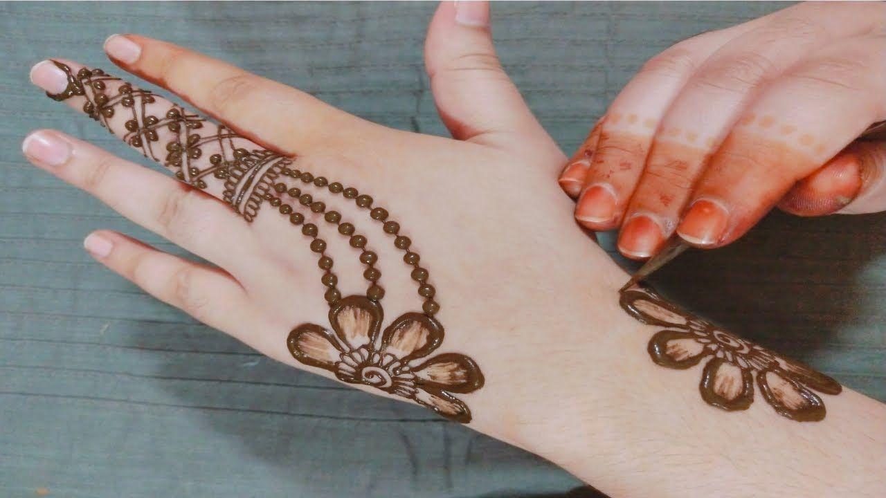 easy simple mehandi design for back hand