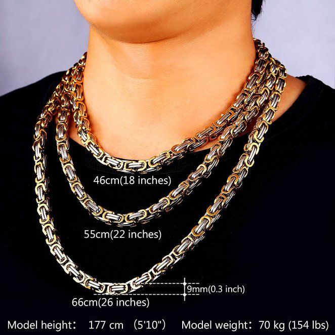 d1a765f4583f7 Stainless Steel And 18K Gold Plated Jewelry 9MM Wide Byzantine Chain ...
