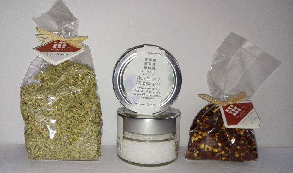 Tris di aromi siciliani Fior di sale di salina, origano