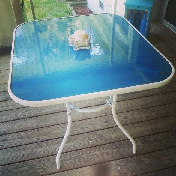 Spray Paint Underneath A Glass Top Table!