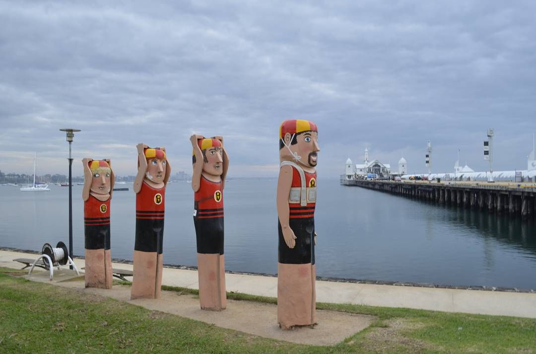 Bollards at Geelong waterfront and Cunningham Pier to the right. There are heaps of these hand painted bollards of various sizes shapes and designs scattered along the entire waterfront. One day I will get around to photographing them all.  Photo by: Adrian Wolff  #bollardsgeelong #geelongbollards #art #artwork #cunninghampier #geelong #geelongwaterfront #lovecentralgeelong #victoria #landscape #landscapephotography #photography #sun7 by life_on_hold_photography http://ift.tt/1JtS0vo