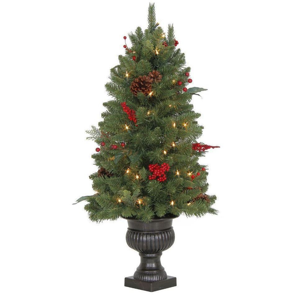 Small Christmas Tree Indoor Outdoor Pre-Lit Artificial Fir ...