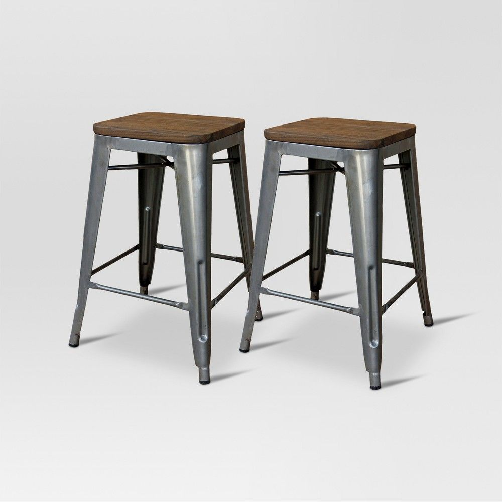 Excellent Hampden Industrial 24 Counter Stool Natural Metal Set Of Caraccident5 Cool Chair Designs And Ideas Caraccident5Info