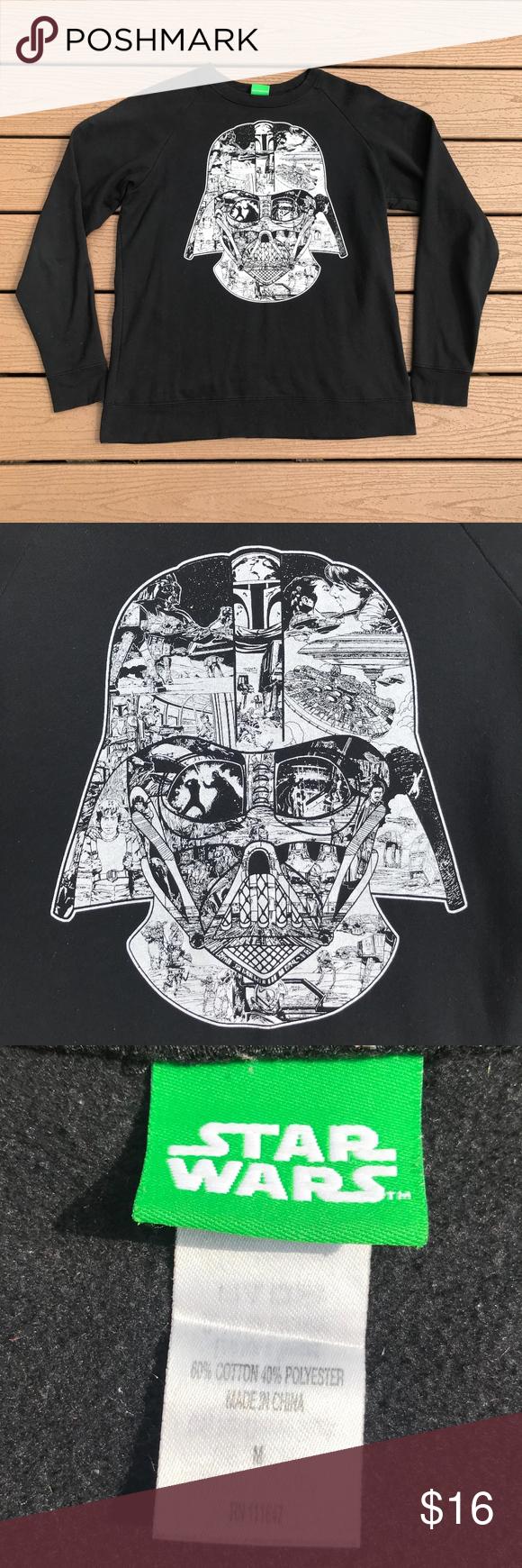 Star Wars Darth Vader Crew Sweatshirt Sz M Star Wars Sweater Long Sleeve Tshirt Men Crew Sweatshirts [ 1740 x 580 Pixel ]