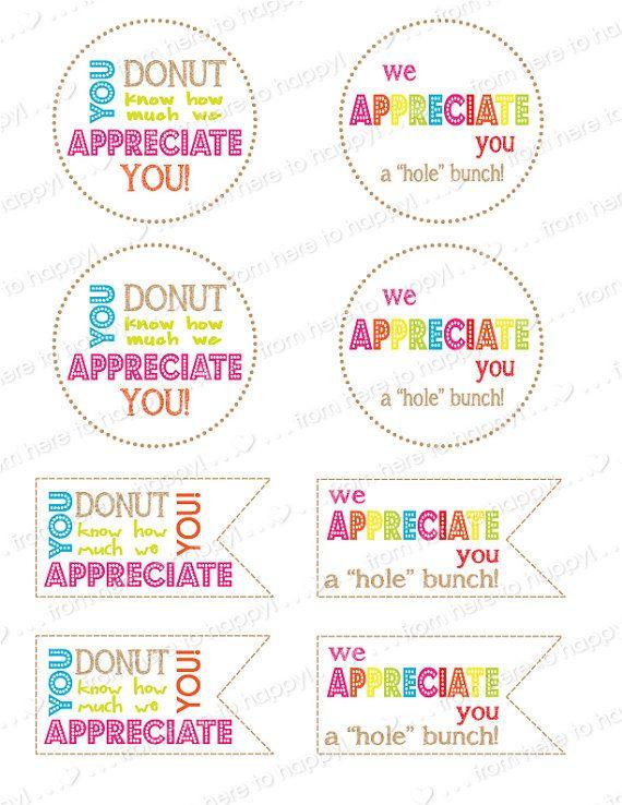 Donut HolesTeacher Gifts Teacher Appreciation Thank You Note