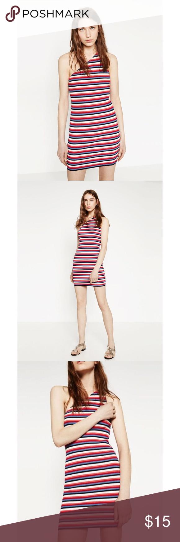 8d8d01f255 Zara Striped Colorful Asymmetric Tank Mini Dress Super fun Red ...