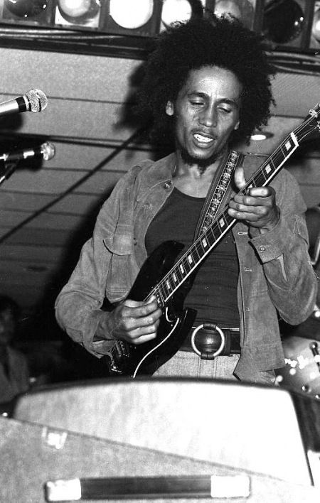 """BOB MARLEY performing at Paul's Mall in Boston with the original WAILERS (without Bunny Wailer) during the """"Catch A Fire"""" tour in July '73 © Clif Garboden"""