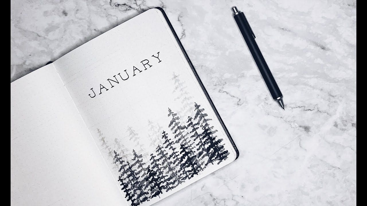 Minimalist bullet journal - January 2018 (Winter theme)