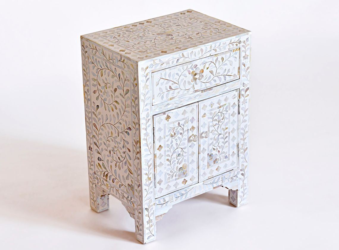 Bone Inlay Furniture Large Ivory Mother Of Pearl Bedside Table 825