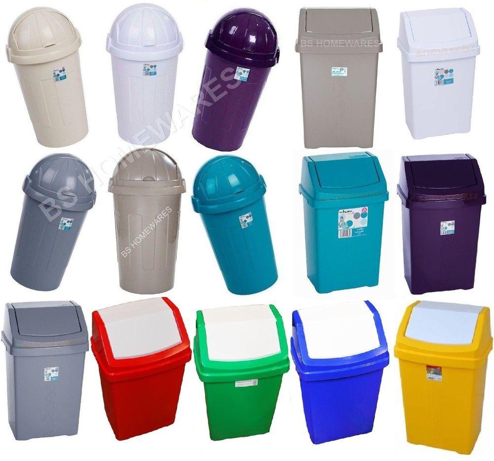 Plastic Bullet Bin Swing Lid Waste Rubbish Dustbin Kitchen Home ...