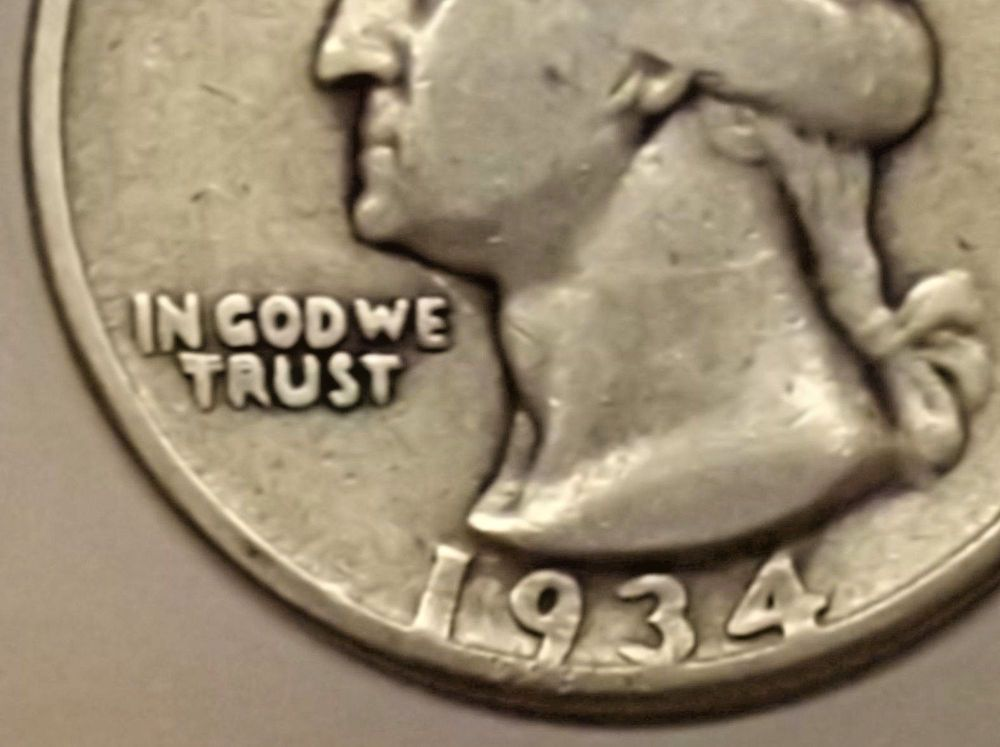 Error errorcoins 1934 Washington Silver Quarter DDO Double Die