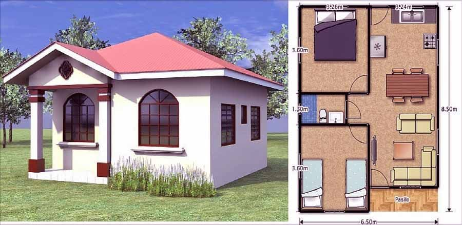 Dise os para construir casas peque as casas pinterest for Modelos de casas de una planta para construir