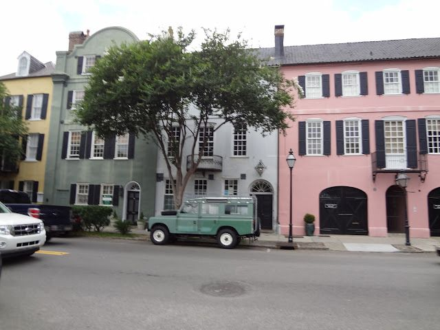 Rainbow Row- Charleston, SC and a nice land rover defender