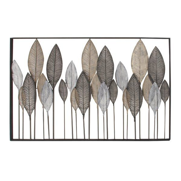incredible Metal Leaves Wall Decor Part - 11: Natural reflections metal leaf wall décor, rectangular metallic black iron  frame, features 24 various-sized iron leaves with metallic brown, black and  white ...