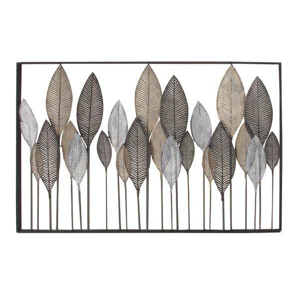 Natural Reflections Metal Leaf Wall Decor Rectangular Metallic Black Iron Frame Features 24 Various Si Metal Leaf Wall Art Leaf Wall Art Botanical Wall Decor