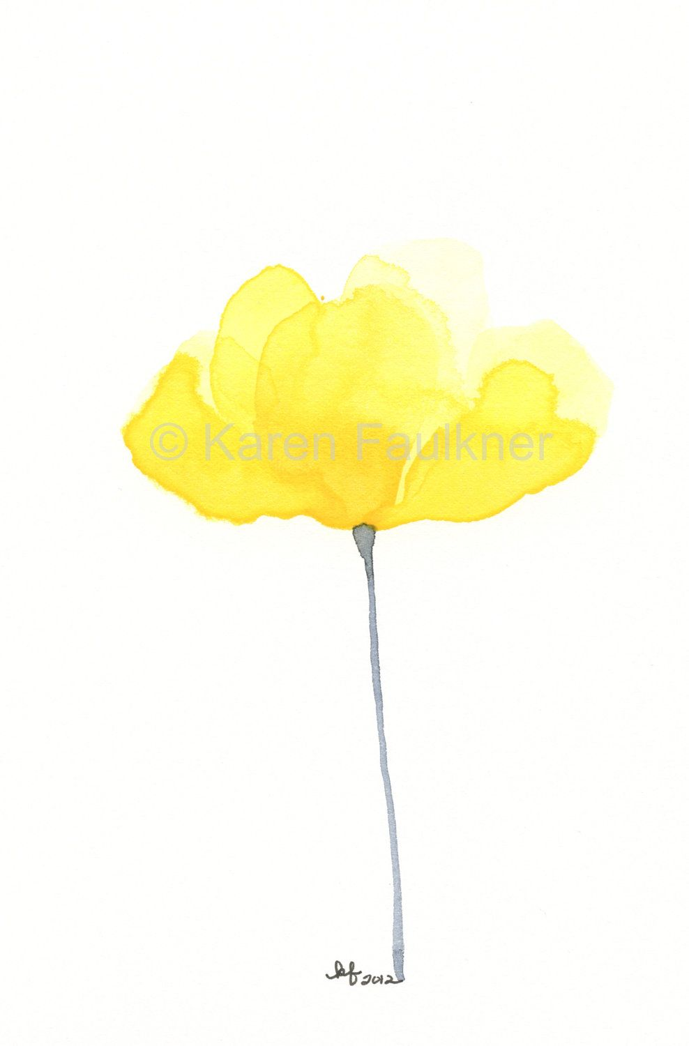 Watercolor Flower Art Print Of Yellow Flower Luminous Buttercup