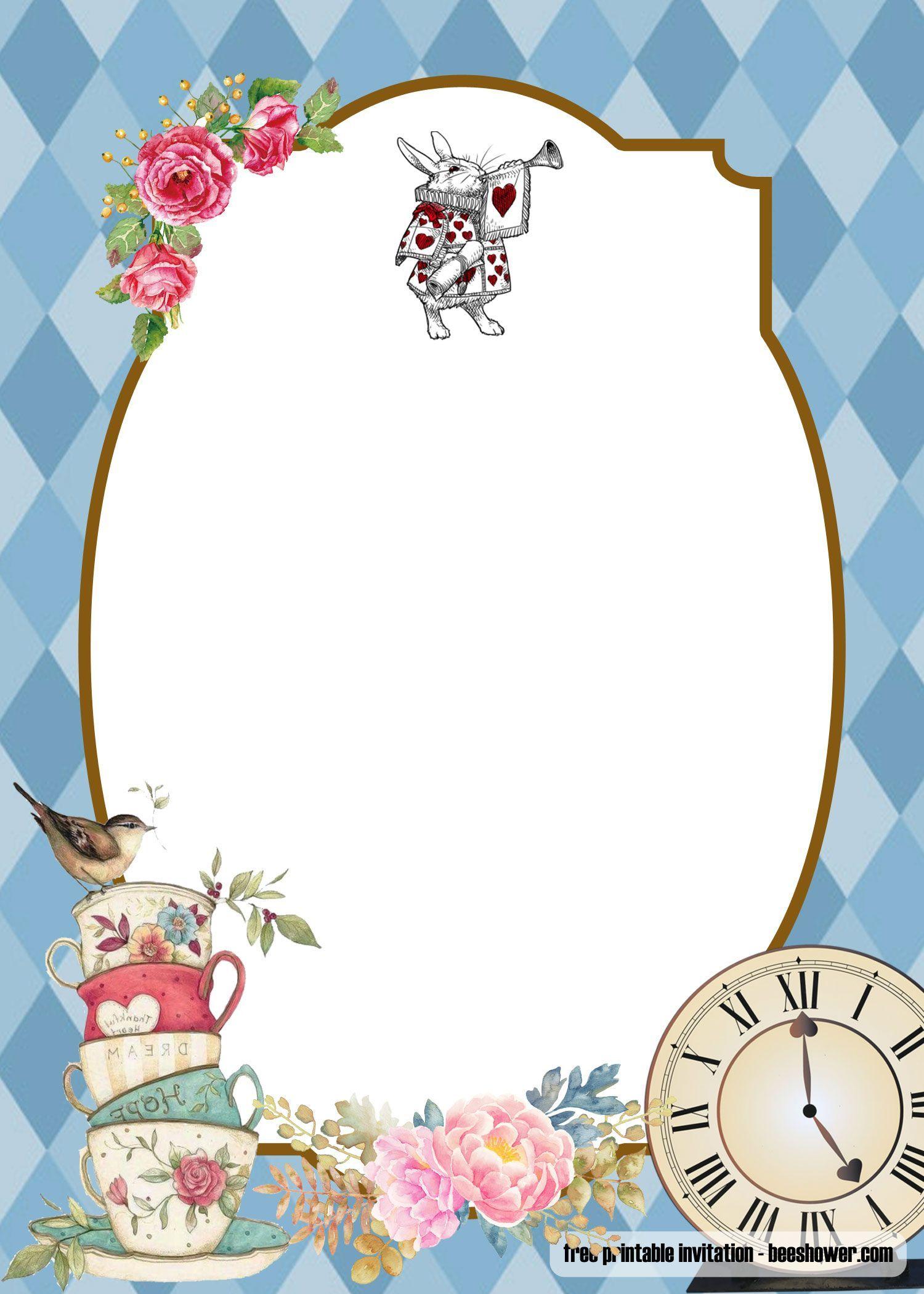 Nice Free Alice In Wonderland Baby Shower Invitations