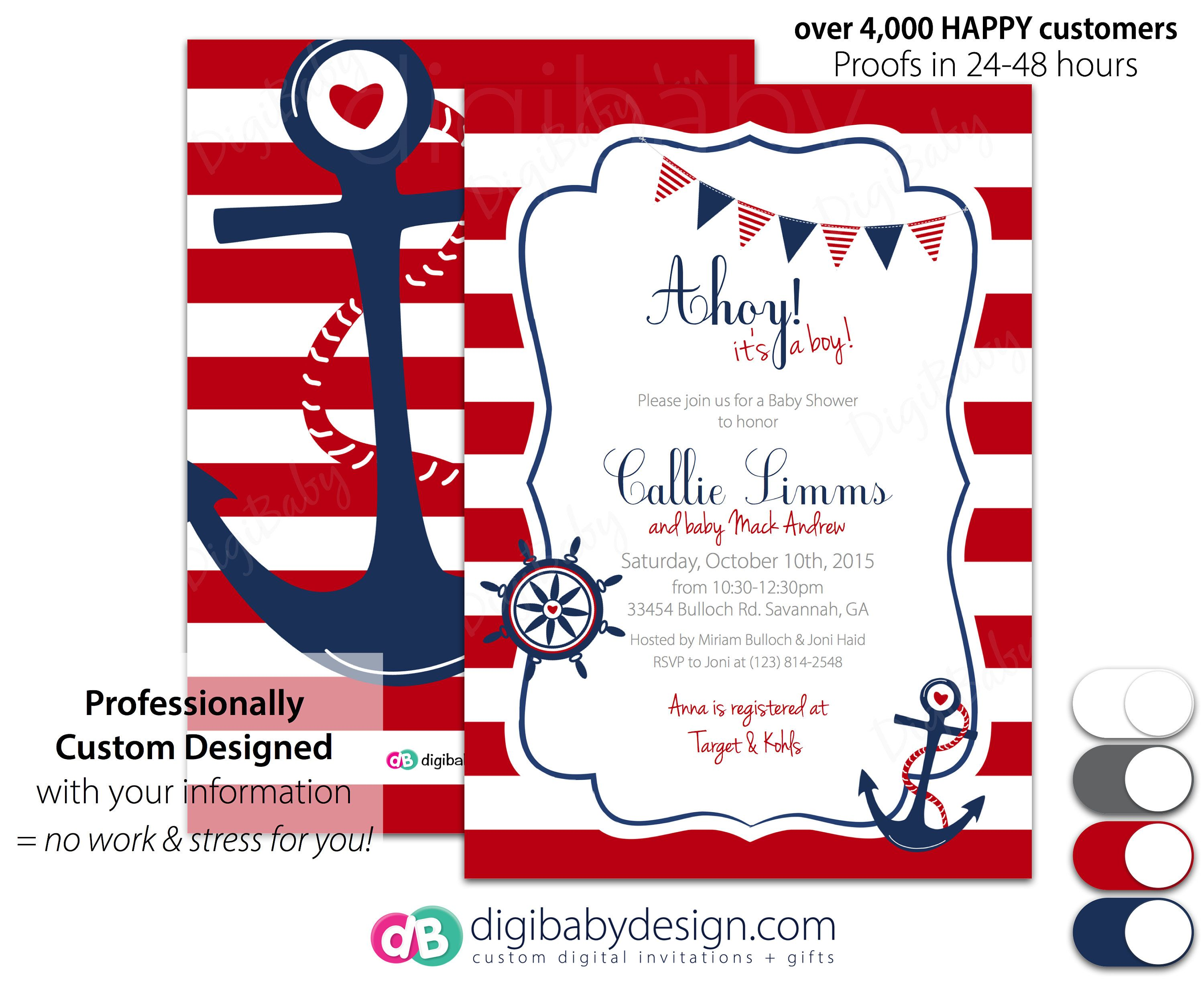 Baby Boy Shower Nautical invitations - Ahoy it\'s a Boy Baby Shower ...