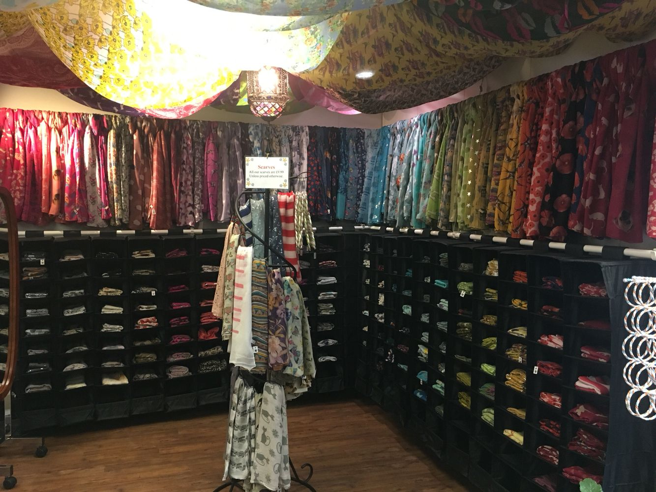 The Arabian tent inspired scarf  area. Over 150 ladies scarves in stock:)
