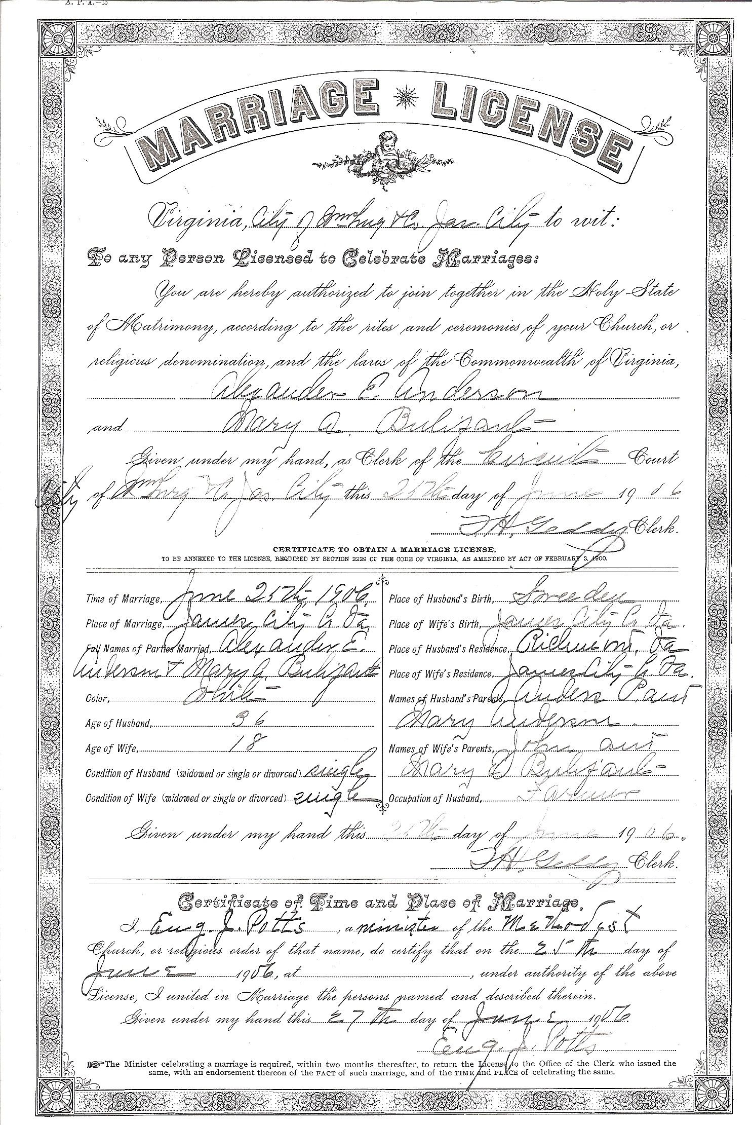 Marriage License Of Alexander Anderson And Mary Adelia Bulifant