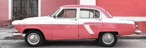 Cuba Fuerte Collection Panoramic – American Classic Car White and Pink Photographic Print by Philippe Hugonnard | Art.com