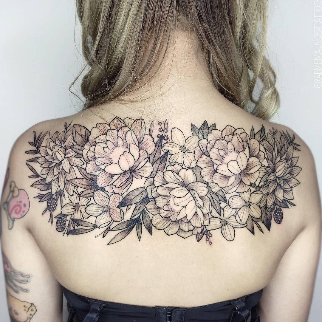 7a1fbf1c4 Black and gray custom floral back piece. Graeme Maunder #floraltattoo  #peonies #tattoo #girl #tattoos #graememaundertattoo