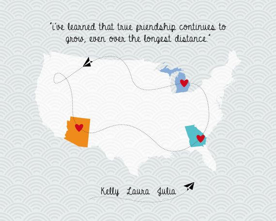 Long Distance Friendship Love Or Family Quote Map By Luzdesign