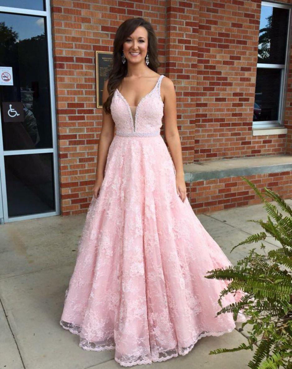 Prom Dress, Lace Dress, Pink Dress, Long Dress, Evening Dress, Pink ...