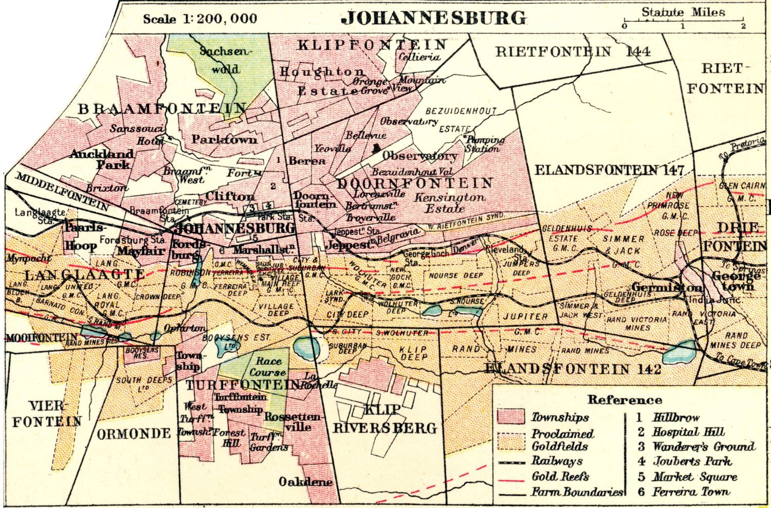 Map of Johannesburg 1907 Johannesburg the past and the present