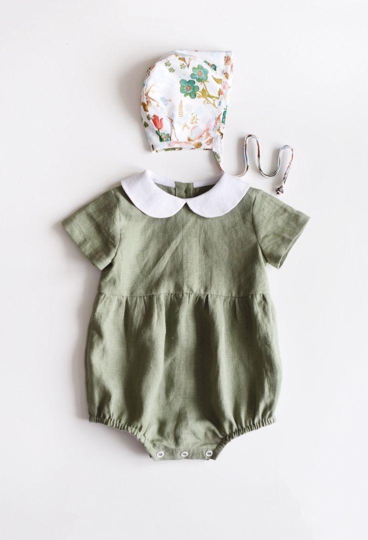Handmade Sage Green Vintage Style Linen Baby Romper \u0026 Bonnet