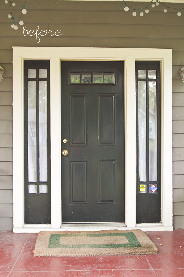 Painted Front Doors With Sidelights Also Painted The Sidelight Panels A Cream Color Talk About A Big Painted Front Doors Black Entry Doors Craftsman Front Doors