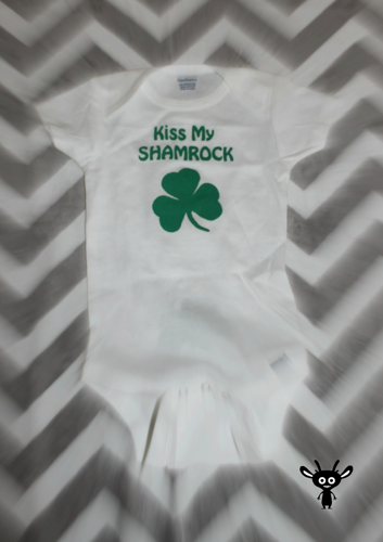Kiss my Shamrock bodysuit newborn one piece infant body suit romper  | BoutiqueMG - Clothing on ArtFire