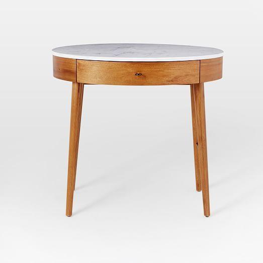 Penelope Mini Desk Acorn W Marble Top Home