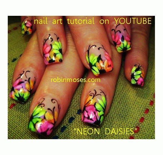 Nothing but love for Robin Moses and her nail art! Neon Daisies - Robin  Moses Nail Art: