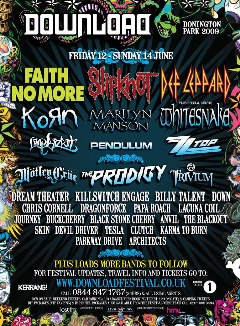 A past lineup poster for Download Festival in Donington ...