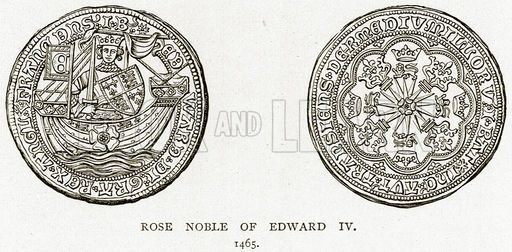 Rose Noble of Edward IV 1465. Illustration from A Short History of the English People by J R Green (Macmillan, 1892).