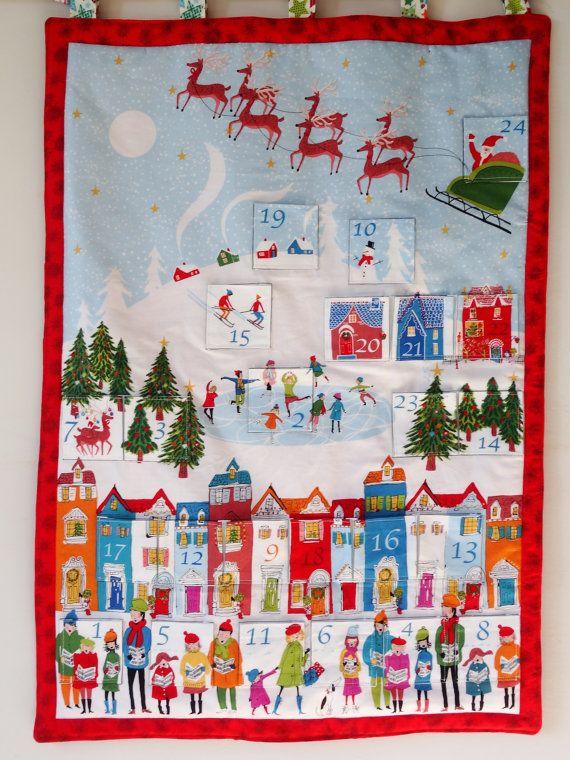 Beautiful hand made advent calendar featuring a winter scene