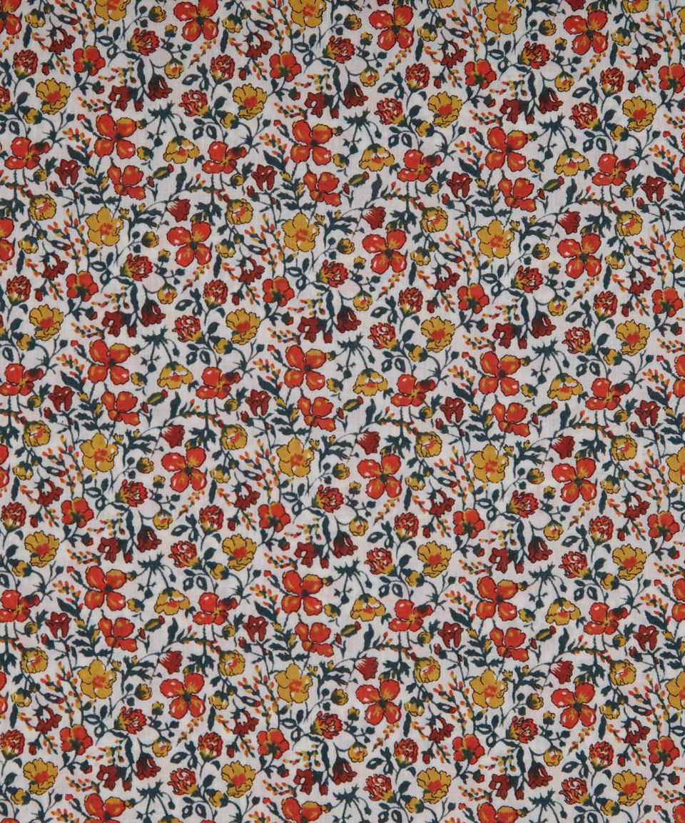 ALL SIZES A - 100/% COTTON FABRIC LIBERTY TANA LAWN FLORAL EARTH