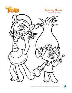 Cooper Y Poppy Trolls Para Colorear Trolls Para Colorear Páginas Para Colorear Disney Libro De Colores