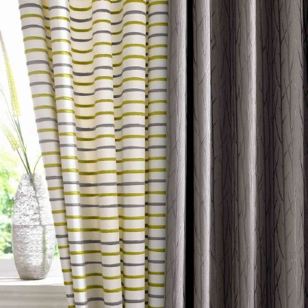 Ashley Wilde   Serene Fabric Collection   White Curtains With Lime Green  And Grey Narrow Stripes